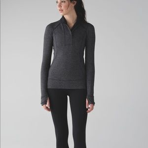 Lululemon Think Fast Gray Black Pullover Size 6